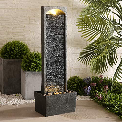 Peaktop Derecho Pizarra de jardín de Invernadero Interior de Fuente de Agua con Luces RJ-19041-EU, Gris carbón, 33 x 20 x 98 cm