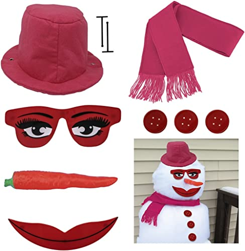 Evelots Lady Snowman Kit-All Pink-Glamorous Eyes/Mouth-Sturdy-Exclusive Design