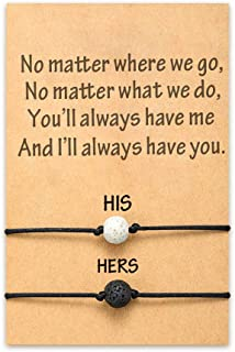 MANVEN Couples Bracelets Promise Distance Relationship Matching Bracelets for Couples Him and Her Boyfriend and Girlfriend