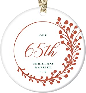 """65th Anniversary Christmas Ornament 2019 Sixty-Five 65 Years Together Married Couple Gift Parents Grandparents Keepsake Tree Decoration Farmhouse Red Berry Decor Ceramic 3"""" Flat Circle Gold Ribbon"""