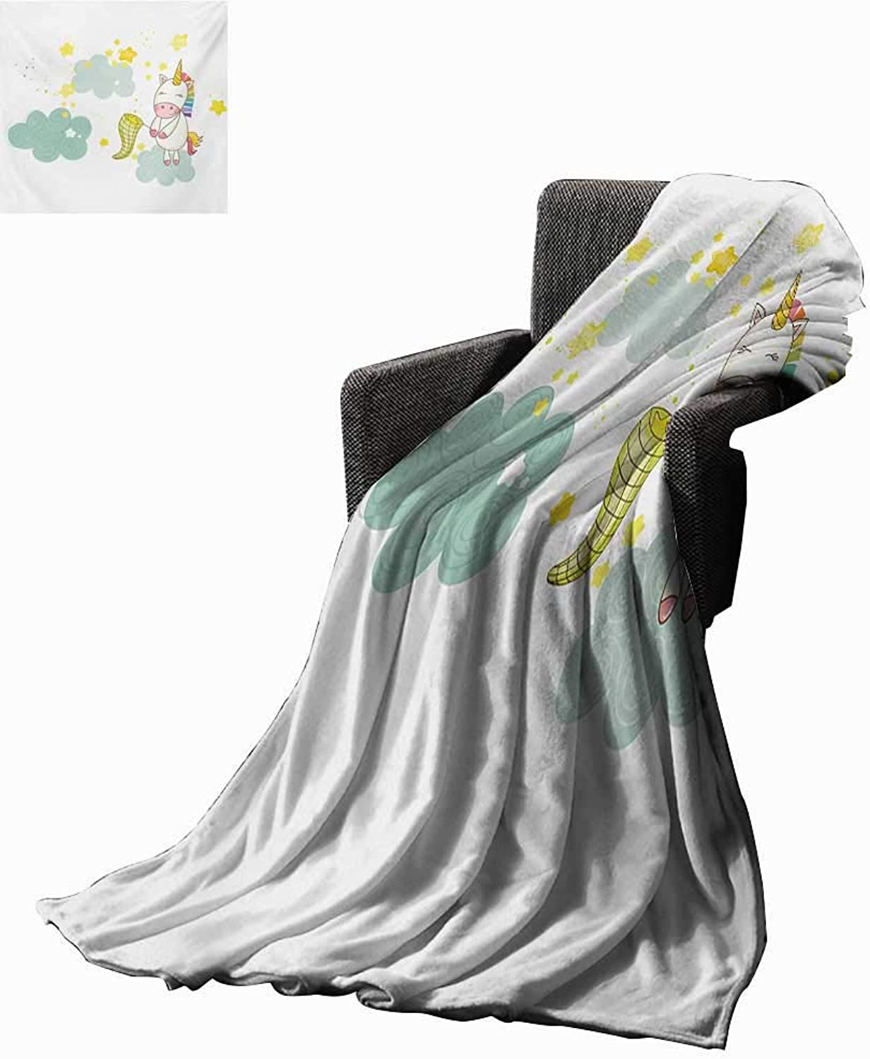 Anyangeight Unicorn Weave Pattern Extra Long Blanket Baby Mystic Unicorn Girl Sitting on Fluffy Clouds and Hunting Nursery Image Print,Super Soft and Comfortable,Suitable for Sofas,Chairs,beds