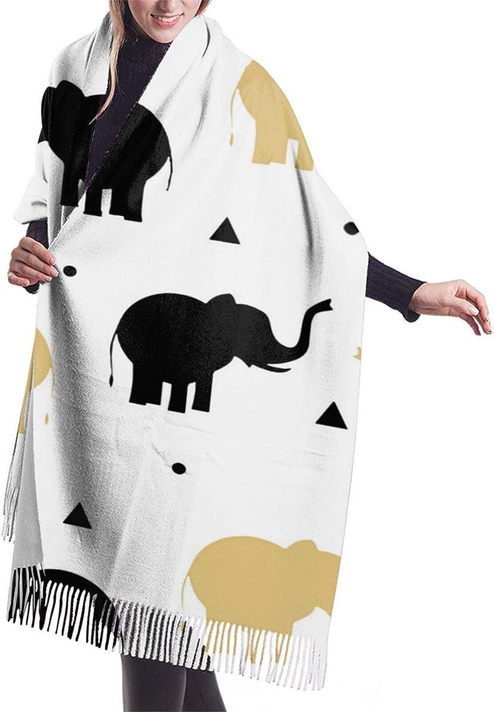 Black Gold Elephants Cashmere Feel Scarf Lightweight Soft Scarfs For Boys Girls Creative Warm Cold Weather Blanket Scarf