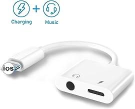 [2 en 1] para iPhone Adaptador de auriculares Jack de 3.5 mm Auriculares de audio auxiliar Dongle para iPhone 11 Pro Max X / XS Adaptador de auriculares de audio Compatible con todo el sistema iOS