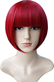 Another Me Women's Dark Red Short Straight Bob Wig Ultra Soft Flat Bangs Heat Resistant Fiber Party Cosplay Accessories
