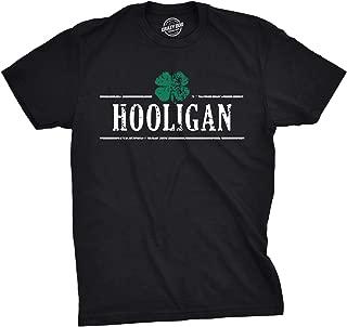 Mens Irish Clover Hooligan T Shirt Funny Saint Patricks Day Parade Tee