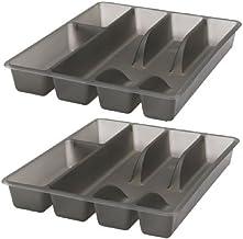 صواني ادوات الطعام والصحون وادوات المائدة الفضية (عبوة من قطعتين) 10 × 12، توضع في الدرج