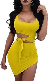 054ebfaa2e5 GOBLES Womens Sexy Bodycon Cut Out Sleeveless Outfit Mini Club Tank Dress