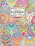 2021-2022 Weekly Planner: Trendy Mandala Organizer with Vision Boards, To Do Lists, Notes, Holidays | Two Year Calendar, Agenda, Diary | Beautiful Floral Rhombus Pattern