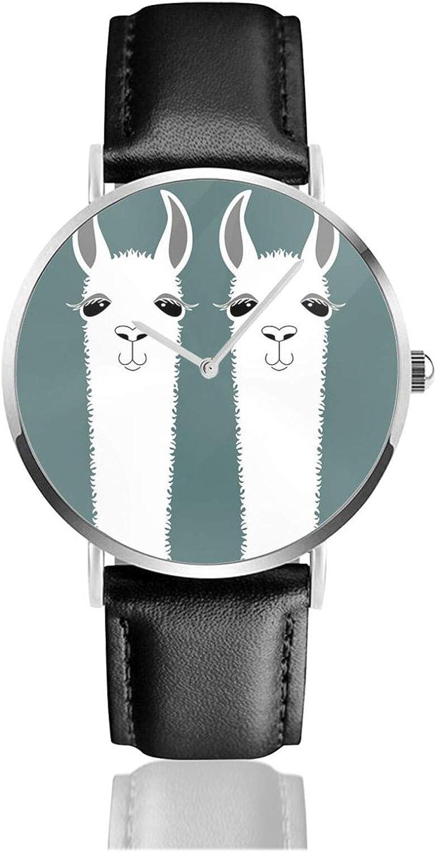 Reloj de cuero Llama Twins Unisex Clásico Casual Moda Reloj de Cuarzo Reloj de Acero Inoxidable con Correa de Cuero