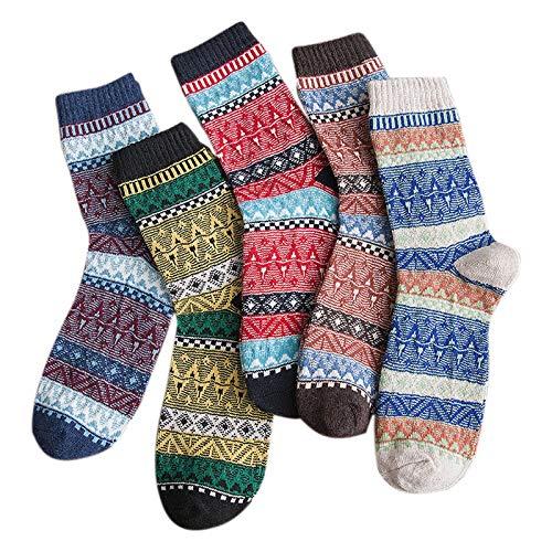 Sonline 5 Pares de Calcetines de Moda para Hombre de Calidad Cálida, Calcetines de Lana de Estilo étnico Retro, Calcetines Navide?os, Calcetines Casuales, Calcetines de Tubo