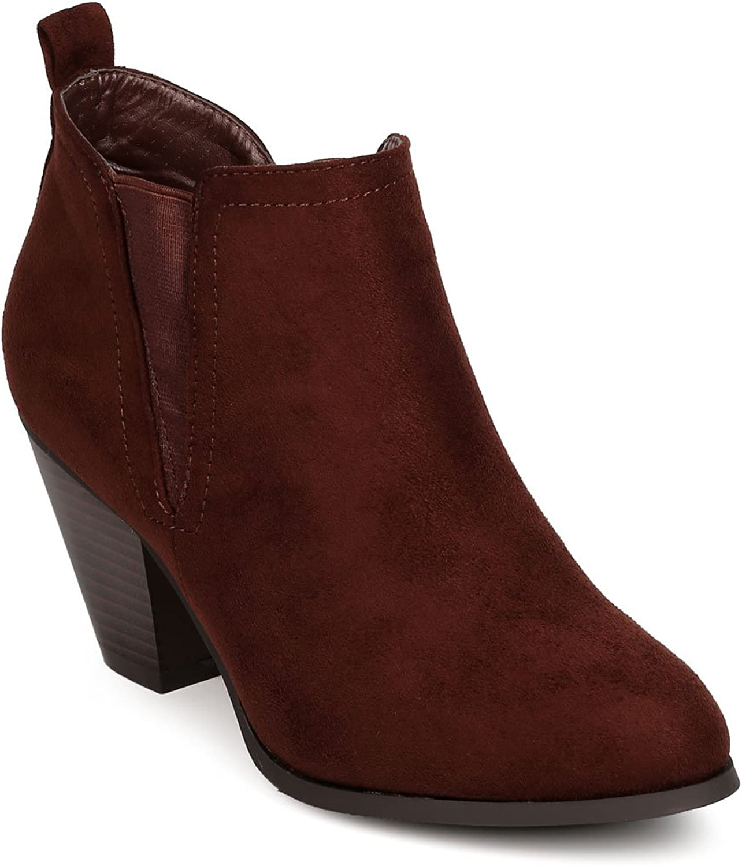 Nature Breeze Women Faux Suede Almond Toe Chelsea Chunky Heel Bootie FE22 - Brown