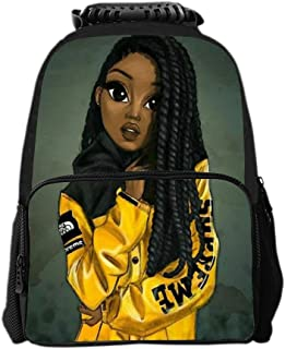 Kids Zipper School Backpack Black Art African American Girl Afro Girls Book Bag For Boys Girls