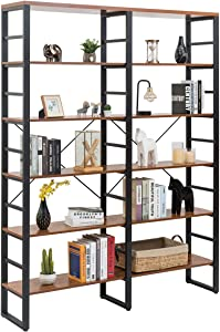 """Tangkula 80 Inches Double 6-Shelf Bookcase, Industrial Style Double 6-Tier Bookshelf, Large Open Bookcases w/Metal Frame, Ample Storage Display Bookshelf for Home Office (60'' L x 13.5'' W x 80"""" H)"""