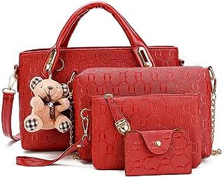 Sponsored Ad - Pahajim Women Handbags PU Leather Fashion tote Removable cute Bear Accessories shoulder Messenger Bags Wall...