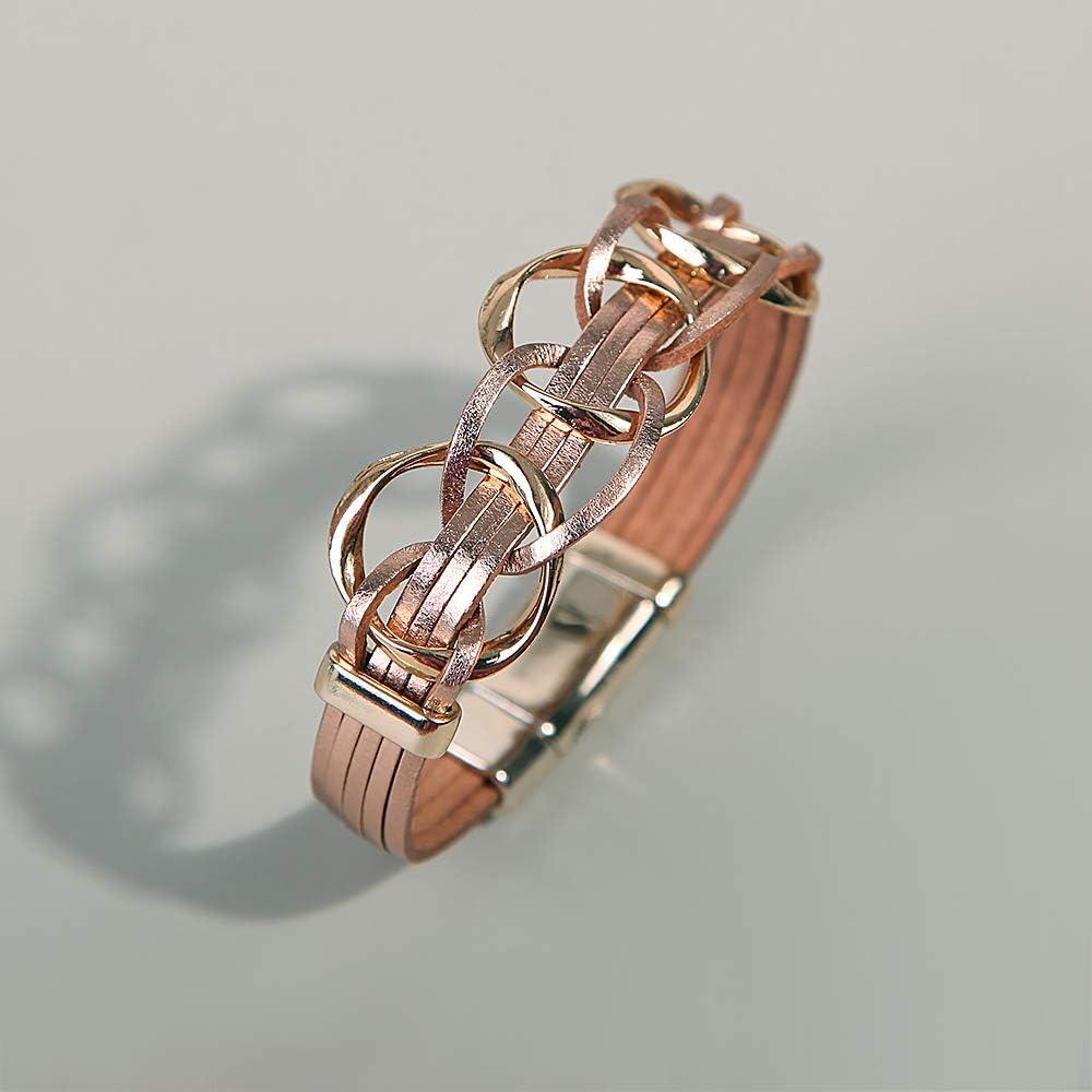 Lynnaneo Leather Wrap Bracelet Boho Cuff Bracelets Stackable Bead Layer Bracelet with Magnetic Clasp Jewelry Gift Bracelet for Women