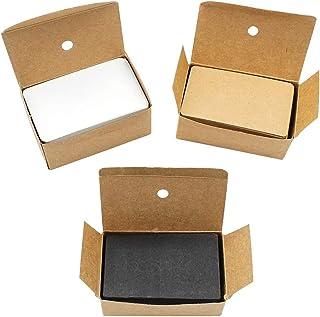 بطاقات كرافت ، حزمة واحدة من 100 ، مجموعة من 3 بطاقات مصنوعة من بطاقة طبيعية ، ورق كرافت ، بطاقة بني طبيعية (الأسود ، أبيض...