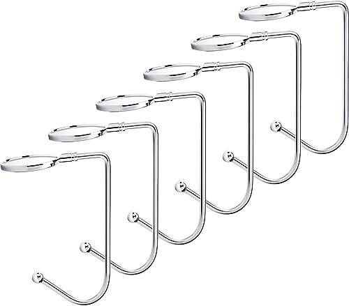Sunshane 6 Pieces Christmas Stocking Holders Mantel Hooks Hanger Christmas Safety Hang Grip Stockings Clip for Christ...