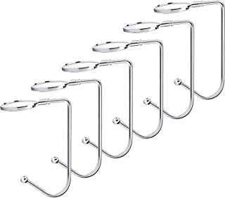 Sunshane 6 Pieces Christmas Stocking Holders Mantel Hooks Hanger Christmas Safety Hang Grip Stockings Clip for Christmas Party Decoration, Silver