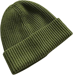 WHPSTZ Hat Female Autumn and Winter Thick Solid Color Wild Wool Hat Curling Casual Street Warm Knit Hat Cold Cap Women's Wool Cap (Color : Green)