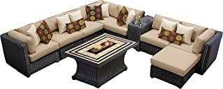 TK Classics VENICE-10d 10 Piece Venice-10D Outdoor Wicker Patio Furniture Set, Wheat