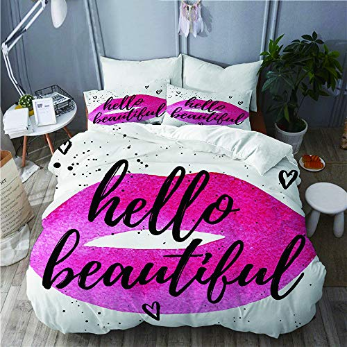 QINCO bedding-Duvet Cover Set,Hello beautiful greeting card fashion poster,Microfibre 200x200 with 2 Pillowcase 50x80,Double