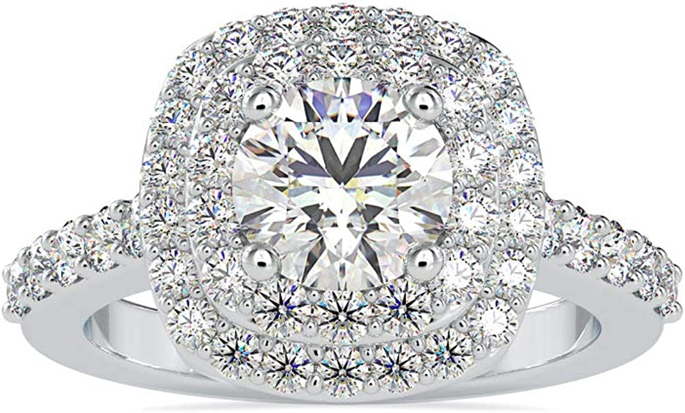 Louisville-Jefferson County Mall Certified Halo Engagement Ring in 14k New product Rose White wit Gold Yellow