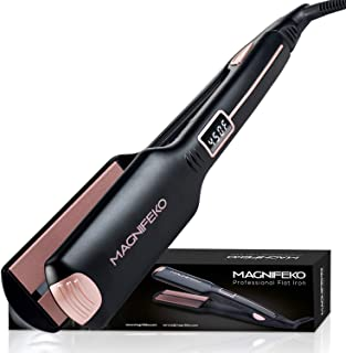Magnifeko Professional Hair Straightener Flat Iron - Wide Ceramic Plates & Digital Display -...