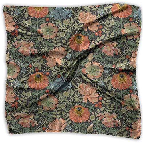 Le Jardin Art Nouveau Bandanas Multifuncional Unisex Pañuelo de Seda Bolsillo Cuadrado para la Diadema, Envoltura, Cobertura Protectora 24 X 24 Pulgadas
