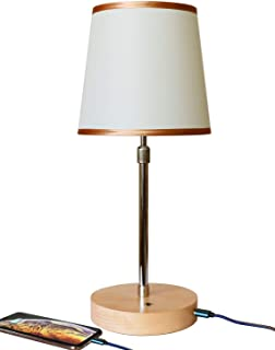 Modern Table Lamp - Wood Desk Lamp LED Bedside Lamp Nightstand Lamp with Linen Shade and USB Charging Port for Living Room, Bedroom, Office, College Dorm