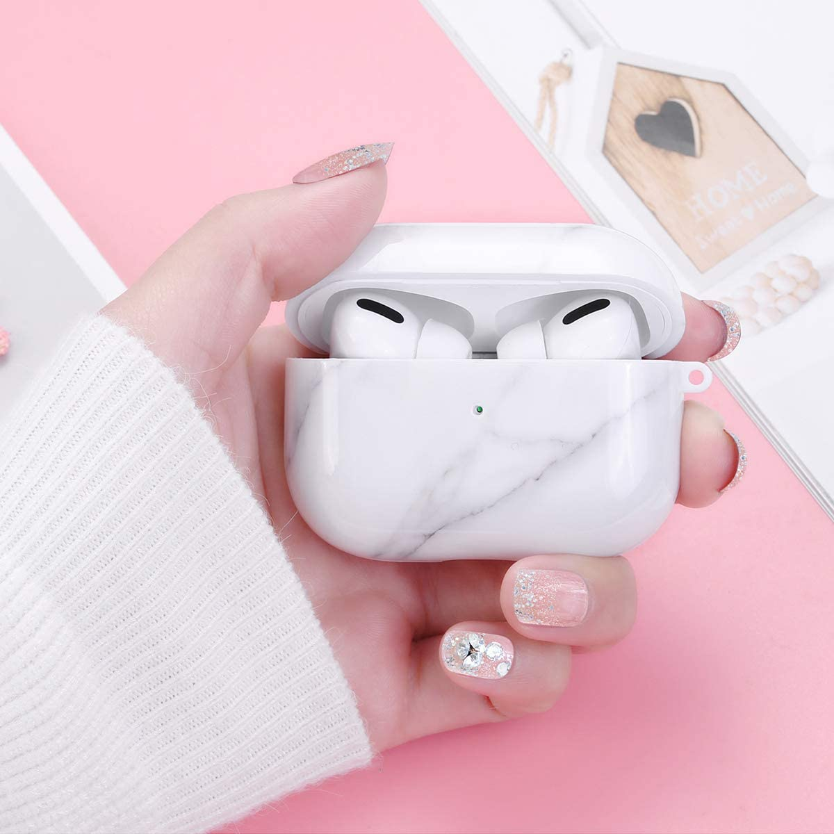 White Marble OTOPO Cute Design Marble Airpod Pro Accessories Protective Hard Case Cover Portable /& Shockproof Women Girls Men with Heart-Shaped Keychain for Airpods 3 Charging Case Airpods Pro Case