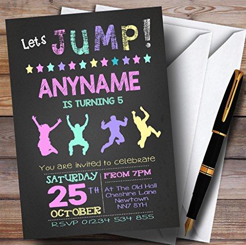 10 x Uitnodigingen Krijt Pastel Meisjes Trampoline Kinderen Verjaardagsfeest nodigt elke bewoording