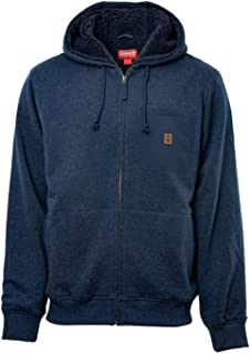 Men's Sherpa Lined Hoodie Full Zip Jacket (X-Large, Indigo)