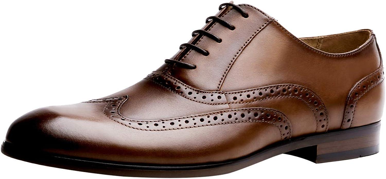 Santimon herr Formal skor Casual Casual Casual läder Lace Uppe Brogues Oxford bröllop modeable Office Business Wing tips Round Toe skor in svart Tan  enkel och generös design