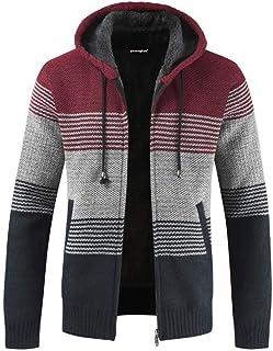Uomo Moda Cardigan Giacca con Cappuccio Maglione Maglia Manica Felpa Lunga n zipRighe Caldo Invernale Outwear Tops Cappott...