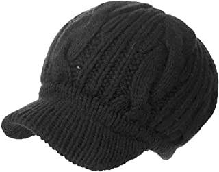 Siggi Wool Knitted Visor Beanie Winter Hat for Women Newsboy Cap Warm Soft Lined