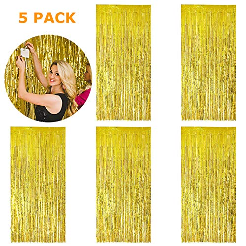 5 Pack 3.28 ft x 6.56 ft Metallic Tinsel Foil Fringe Curtains for Party Photo Backdrop(Gold)