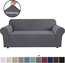 """H.VERSAILTEX Stretch Sofa Covers Couch Cover Furniture Protector Sofa Slipcover 1-Piece Feature High Spandex Textured Lycra Small Checks Jacquard Fabric with Elastic Bottom(Sofa 72""""-96"""" Wide: Grey)"""
