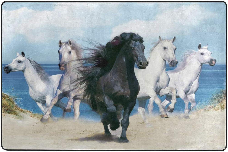 MALPLENA Black Horse and Four White Horses Rugs for Living Room Doormat Carpet Floor Mats shoes Scraper for Living Room Dining Room Bedroom Kitchen Non Slip