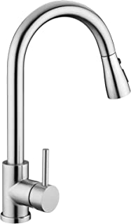 Kitchen Sink Faucet, Kitchen Faucet Stainless Steel with Pull Down Sprayer Brushed Nickel Commercial Modern High arc Singl...