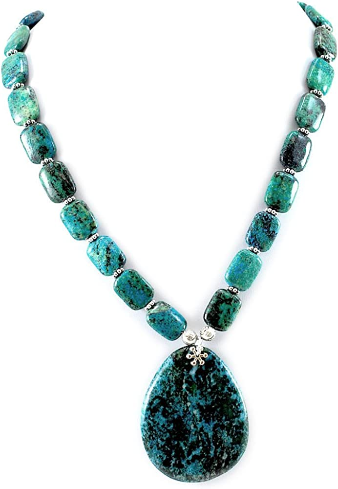 Ny6design 003 Green Challenge the lowest price of Japan Chrysocolla Pendant Silver w Time sale Necklace Plat