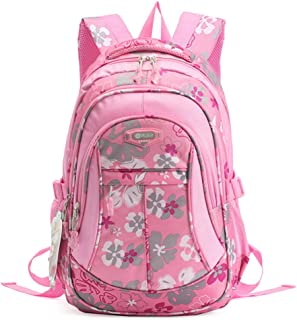 SellerFun Girl Women Flower Printed Waterproof Rucksack Backpack School Bag Bookbag (24L, Pink)