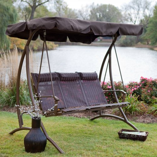Solano 3 Person Canopy Swing with Headrests - Chocolate