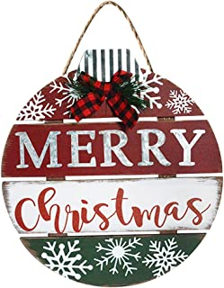Best Merry Christmas Decorations Buffalo Check Plaid Wreath Christmas Hanging Door Sign Rustic Wooden Holiday Decor for Christmas Home Window Wall Farmhouse Indoor Outdoor Decorations (Red and Black) Review