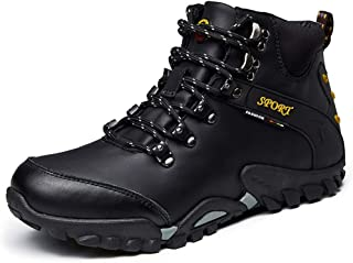2019 Men lace-ups Flats, Hiking Boots for Men Outdoor Sports Durable Comfortable Walking Climbing Shoes Lace Up Synthetic Leather Waterproof Easy Care(Fleece Lined Optional)