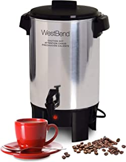 West Bend 58030 Highly Polished Aluminum Party Perk Coffee Urn Features Automatic Temperature Control Large Capacity with Quick Brewing Smooth Prep and Easy Clean Up NSF Certified, 100-Cup, Silver