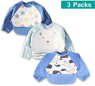 3 Pcs Long Sleeved Bib Set | Baby Waterproof Bibs with Pocket Bundle | Toddler Bib with Sleeves and Crumb Catcher | Play Smock Apron - Pack of 3 | 6-18 Months
