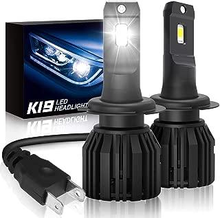 H7 Led Headlights Bulbs, SUPAREE K19 Single Beam Headlamp with Fan, 9600lm 6000K Cool White High Beam/Low Beam/Fog Light Bulb (2 Pack) -2 Year Warranty