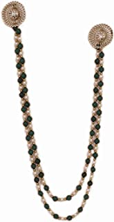 Sharda Creations Glorious Green Pearl Beaded Traditional Long Chain Saree Brooch for Women (Pack of 1)