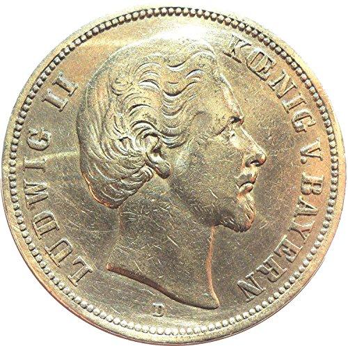 Deutsches Reich - Kaiserreich Münze 5 Mark 1874 D Ludwig II König von Bayern - Jäger Nr. 42 - Silbermünze *ORIGINAL*