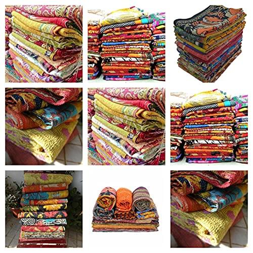 Indian-Shoppers Venta al por mayor lote vintage kantha tiro indio edredón hecho a mano patchwork ropa de cama manta reversible hecho a mano acolchado algodón Ralli decoración